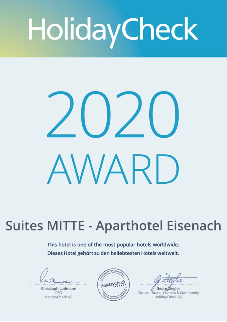 Hotel in Eisenach – Suites MITTE – Award 2020 von HolidayCheck